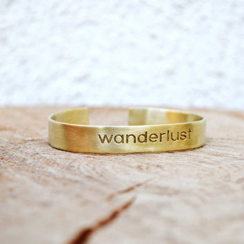 "Wanderlust Bracelet / Wanderlust Bangle / Stackable Bracelet / Travel Gift / Personalized Jewelry / Bracelet With ""Wanderlust"" Engraving"