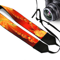 Floral Camera Strap. Flowers Camera Strap. Yellow Orange Red  Camera Strap.  Accessories