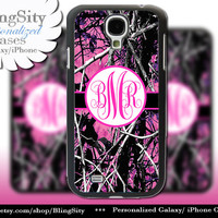 Camo Hot Pink Monogram Galaxy S4 case S5 RealTree Muddy Camo Personalized Samsung Galaxy S3 Case Note 2 3 Cover Country Girl