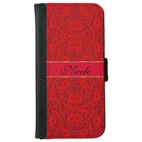 Holiday Red Lace Personalized iPhone 6 Wallet Case