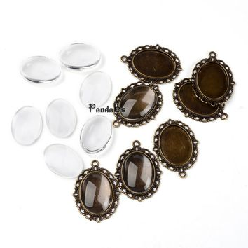 DIY Pendant Making, Tibetan Style Pendant Cabochon Settings and 18x25x5.4mm Oval Transparent Clear Magnifying Glass Cabochons