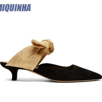 MIQUINHA New Fashion Black Suede Leather Women Pointy Toe Mules Lace Up Apricot Bow Ladies Low Heel Pumps Slingback Dress Shoes