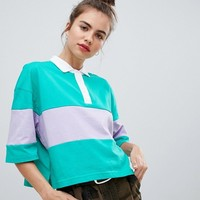 Pull&bear green rugby top at asos.com