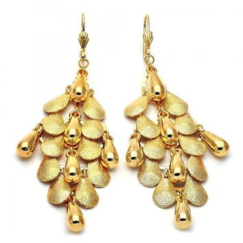 Gold Layered 02.63.2135 Chandelier Earring, Teardrop Design, Matte Finish, Gold Tone