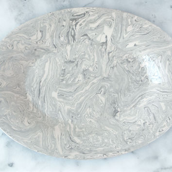 Stone Ebru Light Marble Ceramic Oval Platter