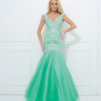 (PRE-ORDER) Tony Bowls 2014 Prom Dresses - Mint Beaded Sweetheart Mermaid Tulle Gown