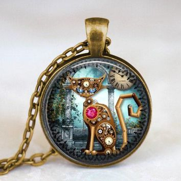 Alice in wonderland Mechine Cat Clock Steampunk Pendant vintage Necklace charming chain 1pcs/lot women men fashion toy cosplay