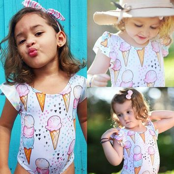 USA Newborn Baby Girls Ice Cream Romper Bodysuit Jumpsuit Outfit Set Clothes wea