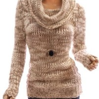 Patty Women Stylish Marled Yarn Cowl Neck Pullover Open Stitch Jumper Knitwear (Beige XL)