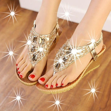 2015 Summer Women Luxury Handmade Gem Beading sandals Girls Flip Flops Bohemian Silver Gold low-heeled wedge Leisure Club Prom Wedding Shoes = 1928621188