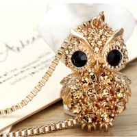 Retro Crystal Gem Gold/Silver Owl Necklace