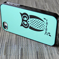 Teal and Black Owl iPhone 4 or 4s Case Order Any Color - unique iphone cases, aqua, aquamarine, turquoise