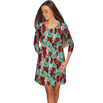 Toscana Gloria Green Pattern Empire Waist Dress - Women