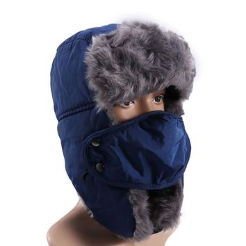 Unisex Winter Trooper Trapper Hat Hunting Hat Ear Flap Chin Strap Windproof Mask Russian Style Winter Ear Flap Hat for Men Women