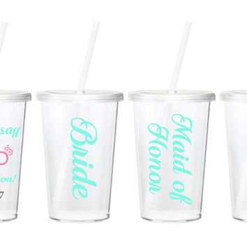 Set of 5 Custom Wedding Party Tumblers