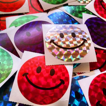 Hologram Happy Face Stickers