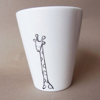 Giraffe, hand painted white porcelain mug