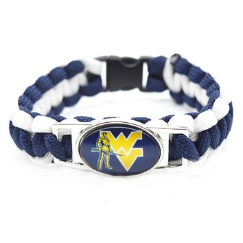 2017 New Fashion NCAA Bracelet West Virginia Mountaineers Braided Bracelet Men Women Lover Sport Bracelet Jewelry Gifts