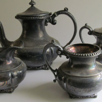 5pc Beautiful Set Victorian Silver Teapot Set Victorian Tea Set Homan Silver Tea Pot Set Silver Sugar and Creamer Set Antique Silver Spooner