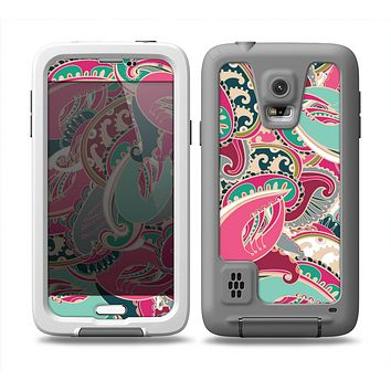 The Colorful Pink & Teal Seamless Paisley Skin for the Samsung Galaxy S5 frē LifeProof Case
