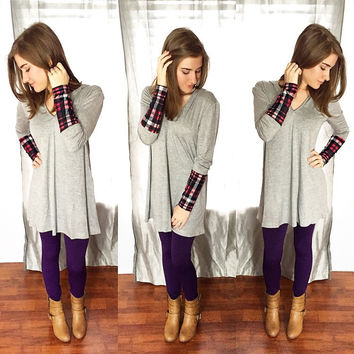 Simple Plaid Tunic Hoodie