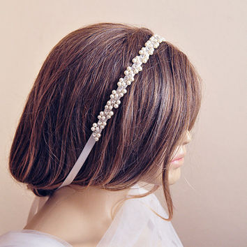 Wedding headband, bridal, hair accessory,  Headband, hairband, Rhinestone and Pearl, Weddings, Accessories, jewelry, wedding gift, etsy