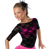 Three Quarter Sleeve Floral Lace Top; Balera