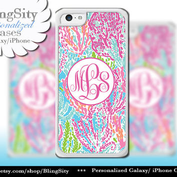 Monogram Ocean Pastels iPhone 5C 6 Case 6 Plus iPhone 5s 4 case Ipod 4 5 Touch Cover Aqua Pink Coral Personalized