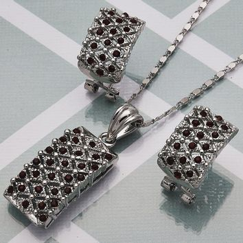 Rhodium Plated Women Earring and Pendant Adult Set, with Garnet Crystal, by Folks Jewelry