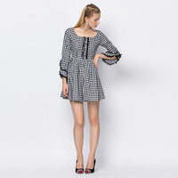 Button Down Plaid Long Sleeve Lace Embroidered Edging Mini Dress