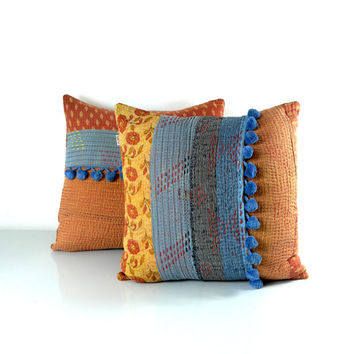pair of kantha quilt cushion covers, kantha cushions, kantha pillow cases, autumn collection, ooak