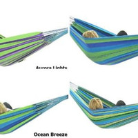 Double Brazilian Hammock Cotton Weave Heavy Duty Loop Knots Outdoor Furniture