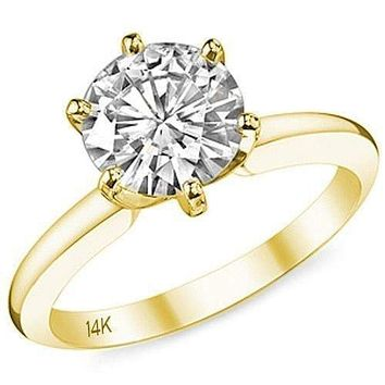 14K Yellow Gold Cubic Zirconia Engagement Ring in 2 Carat 6 Pron 22970187fc