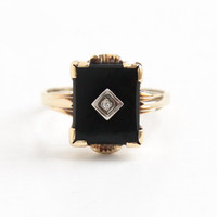 Vintage 14k Yellow Gold Black Onyx & Diamond Ring - Art Deco Size 9 Black Stone Fine Jewelry
