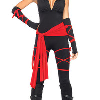 Halloween New Sexy Women Ladies Female Ninja Costume Cosplay Lingerie Women Top +Capris + belt +riband +Mask