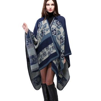 Women's Thickened Floral Warmer Shawl Cape Cloak Womens Scarf Worn on Both Sides Cape