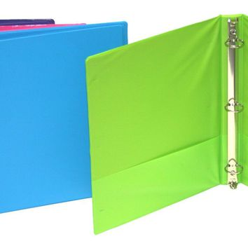 "1"" Binder with Pockets - Assorted Colors - CASE OF 12"