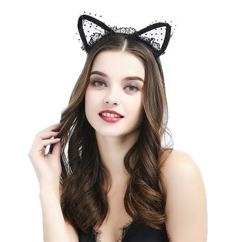 Halloween Headband Lace Cat Ears Head Piece Hair Band Accessory Party Costume Favors Supplies