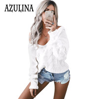 AZULINA Warm Sexy White V neck Knitted Oversized Sweater Women Long Sleeve Crochet Pullover Jumper Winter Knitwear Pull Femme