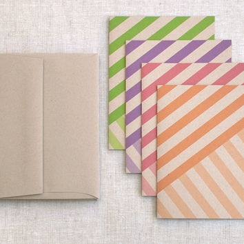 Blank Note Card Set, Autumn Fall - Striped Cards - Birthday, Thank You, Modern Brown Recycled Cards - Coral, Orange, Purple, Green