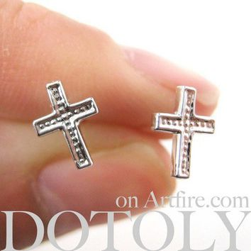 Small Cross Shaped Stud Earrings Non Allergenic Plastic Post from Dotoly Plus