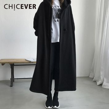 CHICEVER Winter Vintage Hooded Trench Coat For Women Windbreaker Long Sleeve Loose Big Size Oversize Women's Coats Female Casual