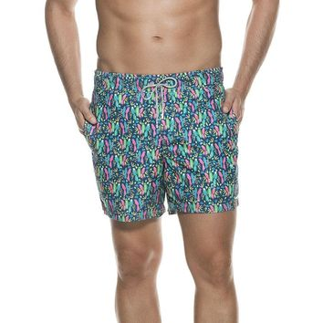 Ondademar Bicollage Swimwear Neon Colors Print Aloha Fit Swimshorts
