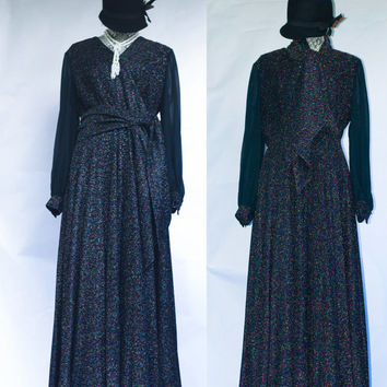 Vintage 60's 70's Lurex  Maxi Dress With Sheer Sleeves Full Skirt Gown. M