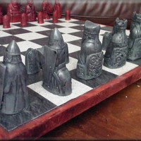 Isle of Lewis Chess Set with Two Extra Queens - Smoky Green and Antique Red