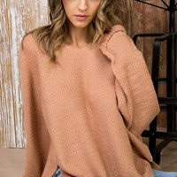 High Low Sweater - Ash Rose