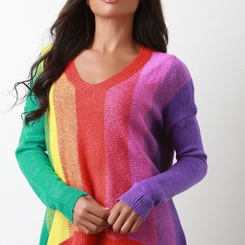 Colorful Vertical Stripe High Low Sweater Top
