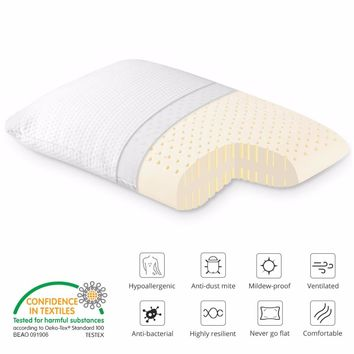 Rectangular Dunlop Natural Latex Pillow with 100% Ventilated Latex Core and Breathable Removable Zippered Cover