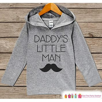 Boys Fathers Day Mustache Hoodie - Grey Kids Hoodie - Daddy's Little Man - Toddler Happy Fathers Day Outfit - Novelty Fathers Day Gift Boys