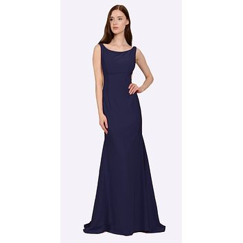 Navy Blue Long Formal Dress with Sheer Side Cut-Outs and Slit